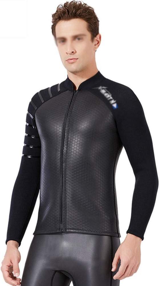 Traje De Neopreno Hombre Chaqueta de traje dividido de 3 mm Surf Snorkeling Traje de baño cálido Traje de buceo de cuero de PU Hombres Para Surf Nadar Snorkeling ( Color : Photo Color , Size : L )