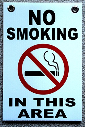 """1 Pc Impassioned Unique No Smoking in This Area Sign Warning Message Yard Board Outdoor Decal Non Smoke Signs Not Allowed Stickers Indoor Windows Home Please Stop Smell Tips Size 8""""x12"""" w/ Grommets"""
