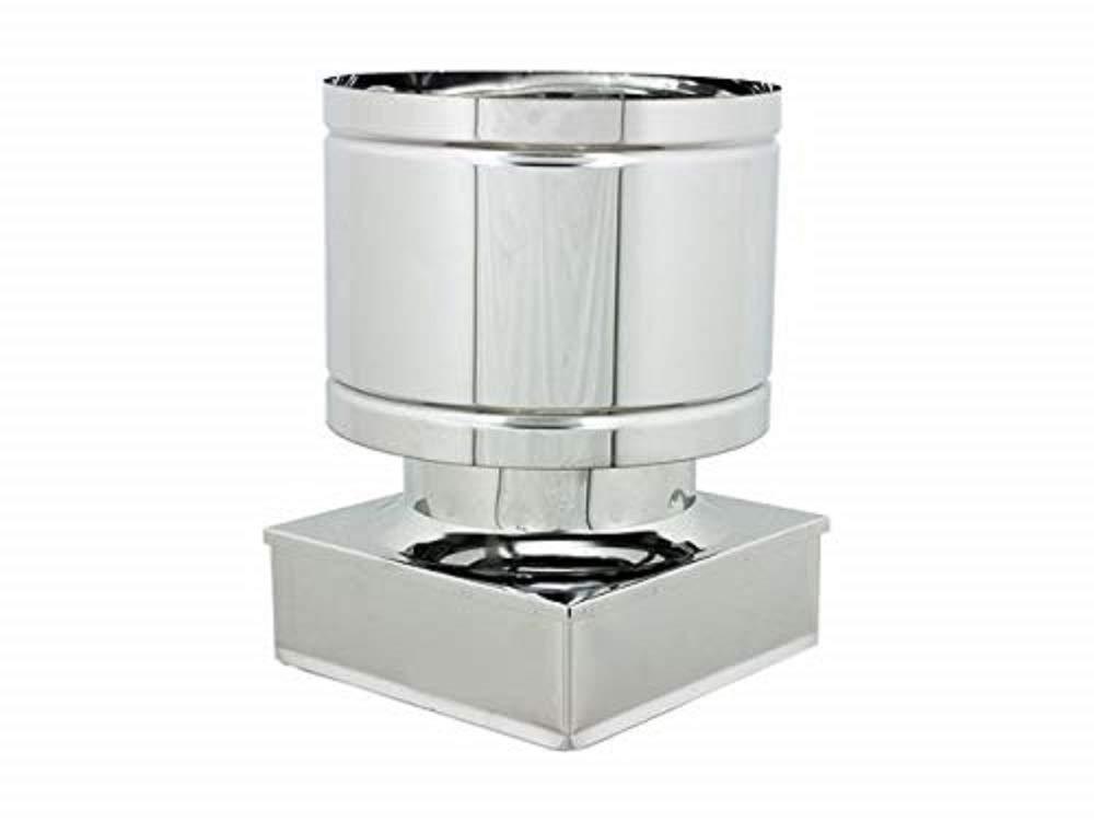 Terminale circolare 4 venti per canne fumarie in acciaio inox con base quadrata DN 160 sezione 370x370