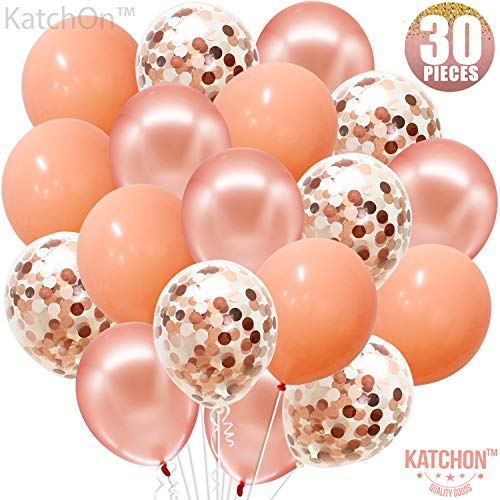 Rose Gold, Confetti and Blush Pink Balloons - Pack of 30, Great for Bridal Shower Decorations, Birthday | Bridal Shower Balloons | Pre-filled Rose Gold Confetti Metallic Balloons, 3 Style, 12 Inch