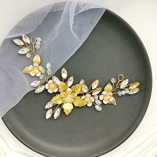 (Aegenacess Rhinestones Wedding Headband Hair Comb Flower Floral Leaf Crystal Bridal Accessories Prom Party Bridesmaids Hair Vine for Brides Gift (Gold))