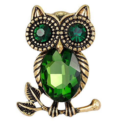 Stylebar Good Luck Owl Branch Brooch Pins Bird Retro Broaches for Women Girls Animal Brooches Emerald Color Crystal Black Night Eye Vintage Gold Tone ()