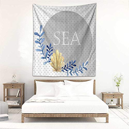 (Tapestry Wall Hanging Modern Coral Reed with Pearl Shell on Polka Dots Background Marine Ocean Graphic Art Stylish Minimalist Fresh Style 57