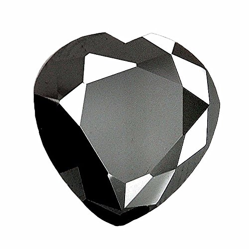 skyjewels Black Diamond Solitaire-Heart Shape. 3.55 Cts.Round. Earth mined Certified.AAAA