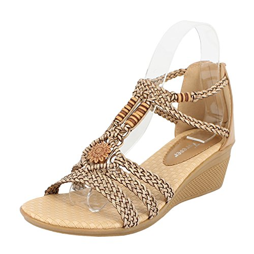 Forever Link Women's Woven Beaded Floral Wedge Taupe 7