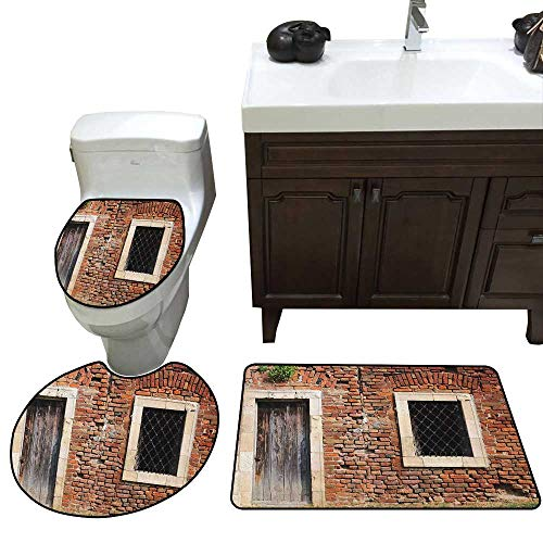 - Rustic 3 Piece Toilet mat Set Old Door and Window Brick Wall Suburban Area European Aged House Entrance Bathroom and Toilet mat Set Brown Cream Redwood