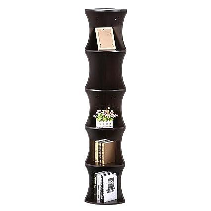 Yaheetech 5 Tier Brown Round Wall Corner Shelf Stand Storage Skinny Display  Bookshelf Rack Casual Home