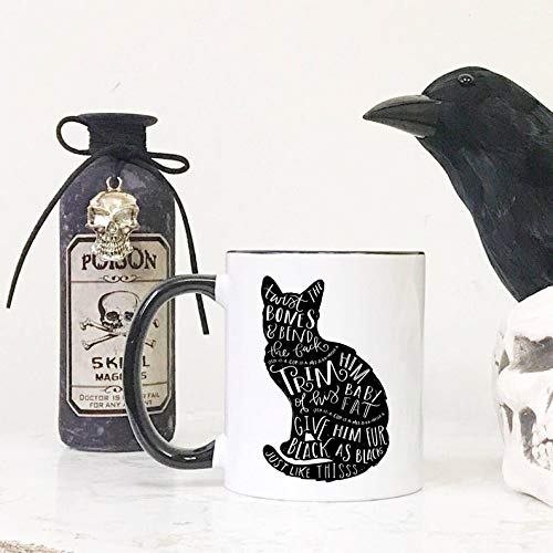Cat Silhouette Thackery Binx Spirit Animal Hocus Pocus Spell Halloween Movie Quote Black Colored Handle and Rim 11oz Ceramic Coffee Mug -