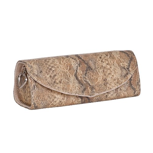 Mele & Co. Lorena Travel Jewelry Roll in Tan Snakeskin Faux Leather (Lined Snakeskin Clutch)