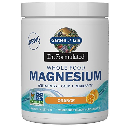 Garden of Life Dr. Formulated Whole Food Magnesium 197.4g Powder - Orange, Chelated, Non-GMO, Vegan, Kosher, Gluten & Sugar Free Supplement with Probiotics - Best for Anti-Stress, Calm & Regularity - Magnesium Oxide Powder