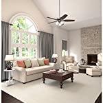 Hunter Indoor Ceiling Fan, with pull chain control - Builder Plus 52 inch, Brushed Nickel, 53237 26 Designed for large rooms up to 485 square feet and equipped with Installer's Choice 3 position mounting system for standard Can be installed with or without 180 watt three light fixture (3 60 watt candelabra bulbs included).An excellent choice for use in the home or office Whisper wind motor. Reversible motor allows you to change the direction of your fan from downdraft mode during the summer to updraft mode during the winter Exclusive Hunter motor technology and hanging system that ensure your fan will remain quiet for Life and wobble free. For indoor use only, Installer's Choice three position mounting system allows for standard, low or angled mounting