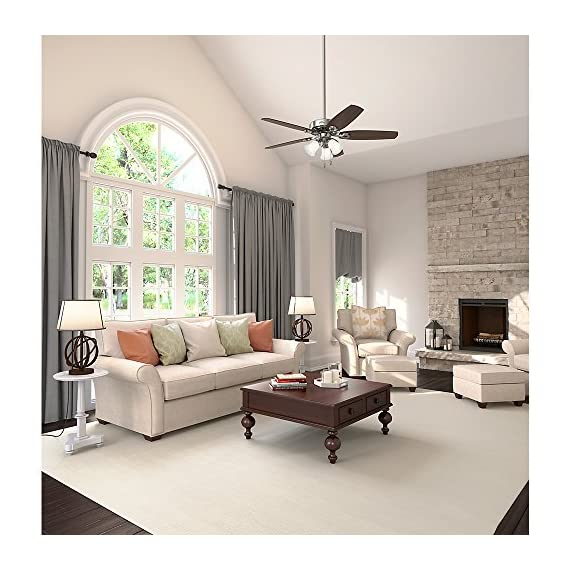 Hunter Indoor Ceiling Fan, with pull chain control - Builder Plus 52 inch, Brushed Nickel, 53237 12 Designed for large rooms up to 485 square feet and equipped with Installer's Choice 3 position mounting system for standard Can be installed with or without 180 watt three light fixture (3 60 watt candelabra bulbs included).An excellent choice for use in the home or office Whisper wind motor. Reversible motor allows you to change the direction of your fan from downdraft mode during the summer to updraft mode during the winter Exclusive Hunter motor technology and hanging system that ensure your fan will remain quiet for Life and wobble free. For indoor use only, Installer's Choice three position mounting system allows for standard, low or angled mounting