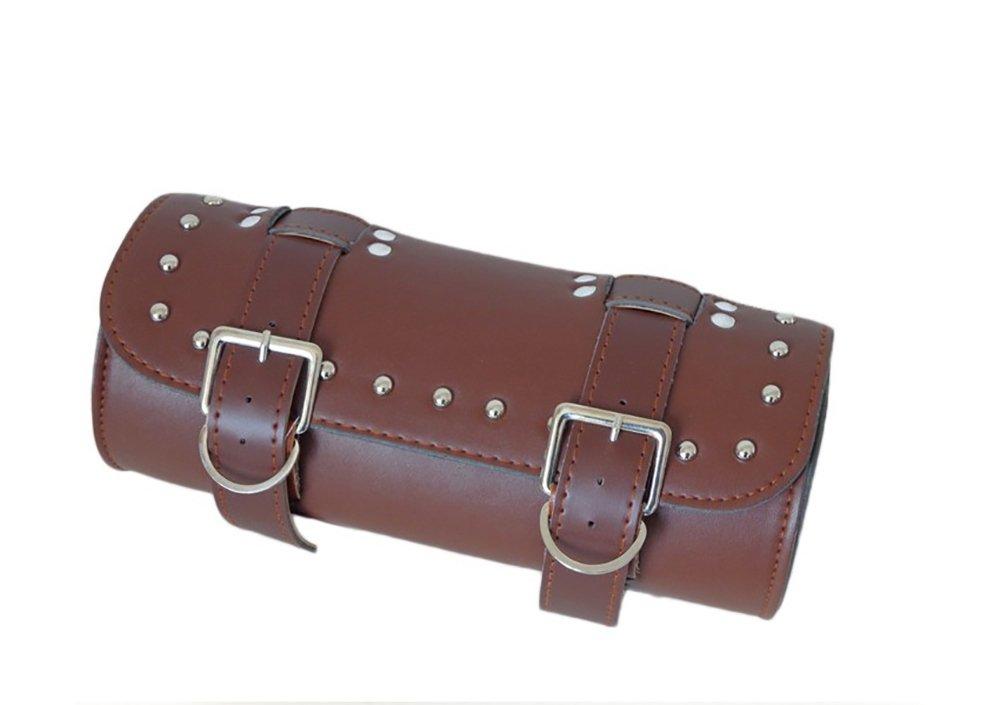 Pevor Motorcycle Tail Bag PU Leather Tool Bag Roll Barrel Shape Side Bag Sundries Bag Handlebar Sissy Bar Tool Pouch (brown)