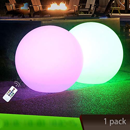 Obell 12-inches LED Solar Floating Ball Lights 10 RGB Color Changing Mood Light Outdoor Waterproof Float Globe Lights Garden Solar Lamp Post Lights Pool Party (12 inch(with Remote Control))
