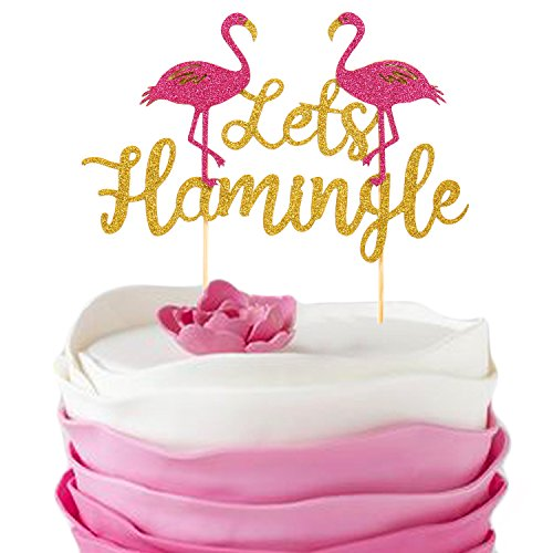Let's Flamingle Cake Topper for Birthday Tropical Hawaiian Luau Flamingo Themed Glitter Party Supplies Decorations by Salmuphy