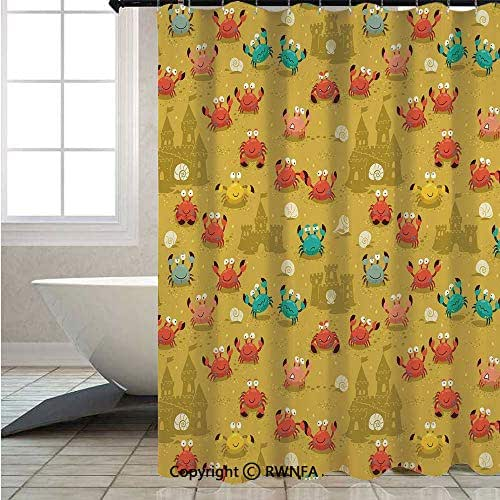 RWNFA Shower Curtain with Hooks Waterproof,Children-Theme-Cartoon-Style-Crabs-Shells-and-a-Sand-Castle-on-Beach-Print,W70.8xL72inch,for Any Bathtub,Light-Coffee