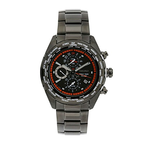 Seiko Men's SPL037 World Timer Stainless Steel Chronograph Black Dial (World Timer Stainless Steel Chronograph)
