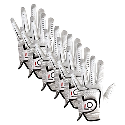 FINGER TEN 2017 Mens All Premium Soft Cabretta Leather Tour Durafit Cadet ML Left Hand Lh Golf Gloves Extra Value 6 Pack with Cadet Size (M/Large Cadet)