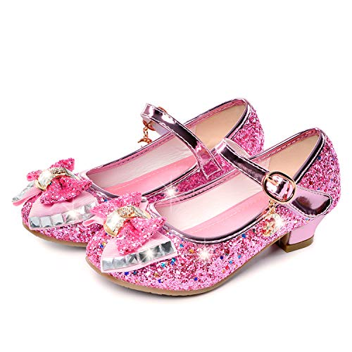 Birthday Party Little Girl's Adorable Sparkle Mary Jane Side Bow Strap Low Heels Princess Dress Shoes(Pink 10.5M Little Kid)