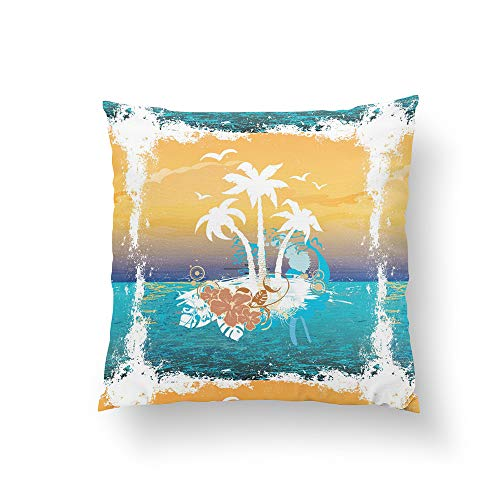 Christ-EZ Summer Holiday Beach Palm Trees Hawaii Pillow Pillowcase Pillow Cushion Cover Cases Single Side 18x18 by Christ-EZ