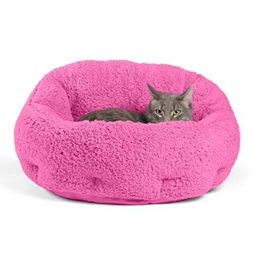 "Best Friends by Sheri OrthoComfort Deep Dish Cuddler (20x20x12"") - Self-Warming Cat and Dog Bed, Fuchsia"