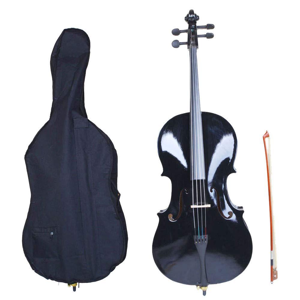 GHP Black Basswood Aluminium Alloy Arbor & Maple 4/4 Cello w Bag Bow Rosin & Bridge