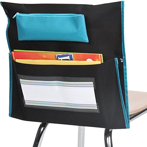 Really Good Stuff Store More Deluxe Chair Pockets - Set of 36 - Pocket Chair Organizer with Pencil Pouch and Name Tag Keeps Students Organized and Classrooms Neat - Black (Chair Store Back)