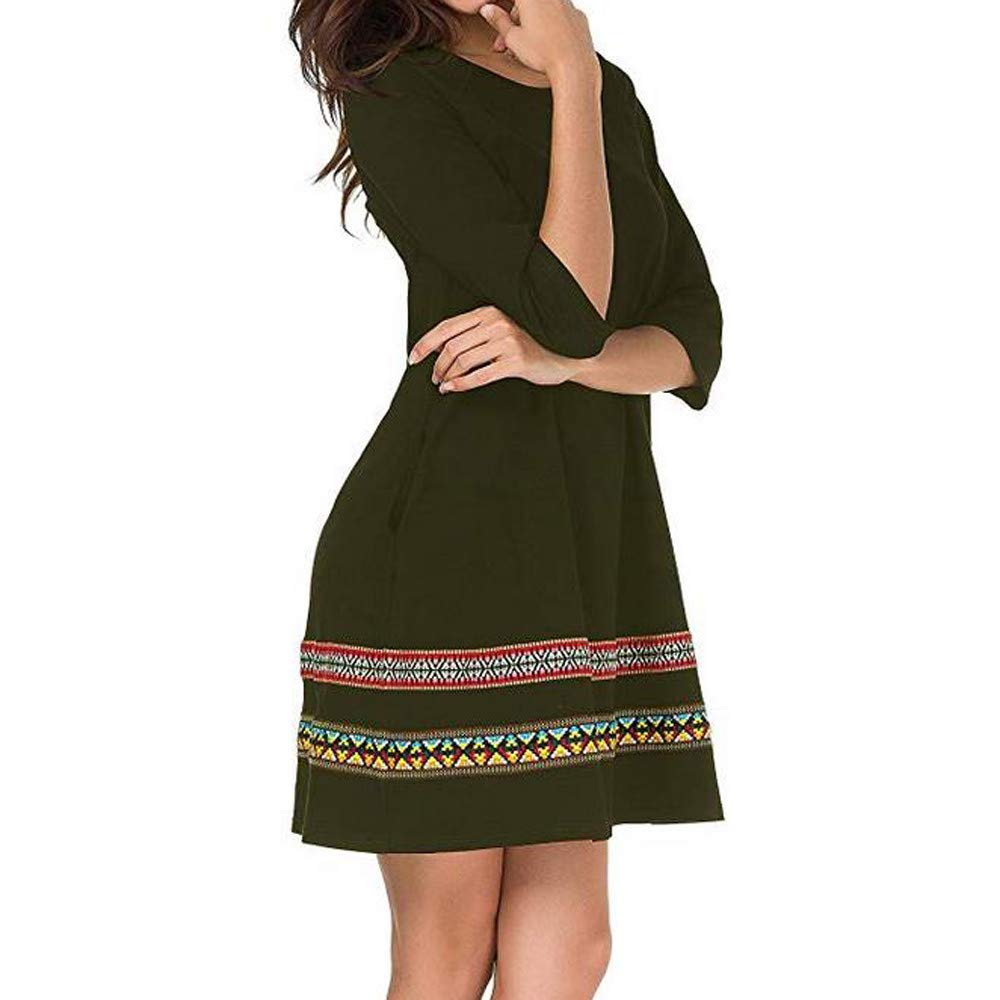 JESPER Fashion Women O-Neck Floral Embroidery Three Quarter Sleeve Loose Mini Dress US 0/2 Green