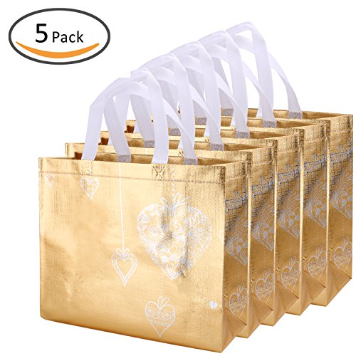 Rumcent Reusable Gift Bag,Shopping Bag,Grocery Bag Tote Bag With Handles ,Non-Woven Fabric,Medium Size,Set Of 5 - Glossy Gold