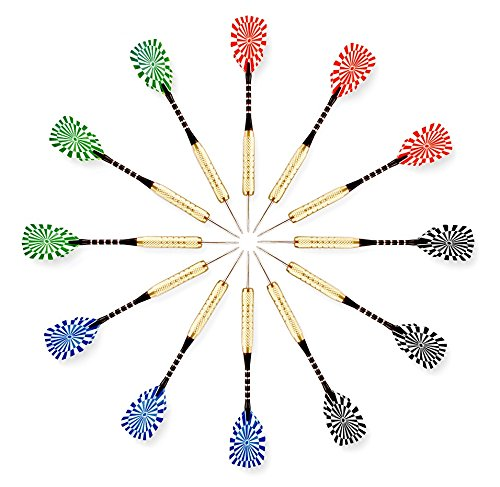 Steel Bullseye - Darts - Pack of 12 Steel Tip 18 Gram by Bullseye Sports - 4 Stylish and Fun Designs (Dartboard Stripe). Aluminum Grip Stems with Extra Flights - Set For Beginners