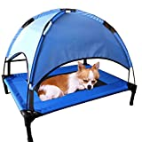 JANMO Pet Portable Bed Dog Foldable Indoor and Outdoor Cot Tent Canopy Shelter (M 30 inch - Blue)