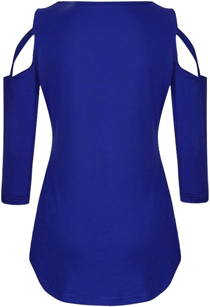 Berimaterry Damen Langarmshirt Einfarbig Rundhals Kalte Schulter T-Shirt Tops Eleganter Langarm Slim Fit Shirt Bluse Casual 3//4 /Ärmel Cross Schulterfreies Oberteile