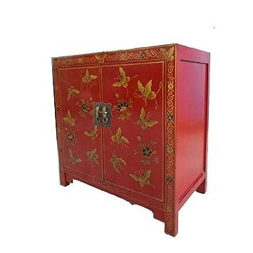 Etnicart Armoire Chinoise Rouge Avec Decorations 80x80x45 Bois
