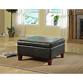 Beau Luxury Large Black Faux Leather Storage Ottoman Table Family Room