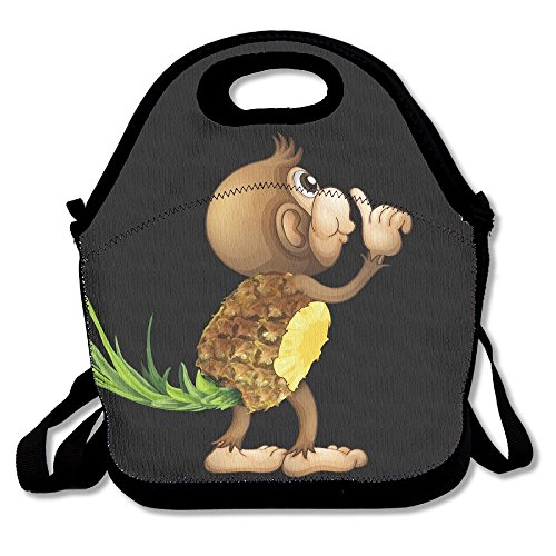 Cute Pineapple Monkey Lunch Bags Insulated Lunchbox Tote Handbag With Shoulder Strap For Women Teens Girls Kids Adults