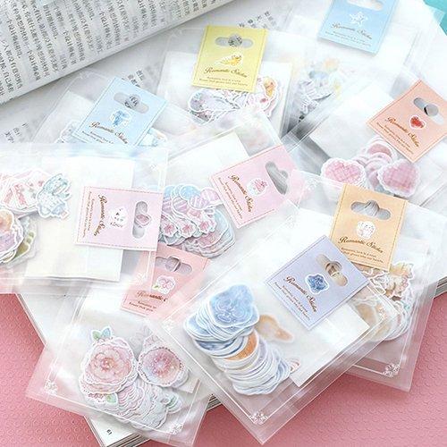 xxiaoTHAWxe Sticker, 70Pcs/Pack Romantic Sticker Scrapbooking Diary Album Phone School Supplies Decor