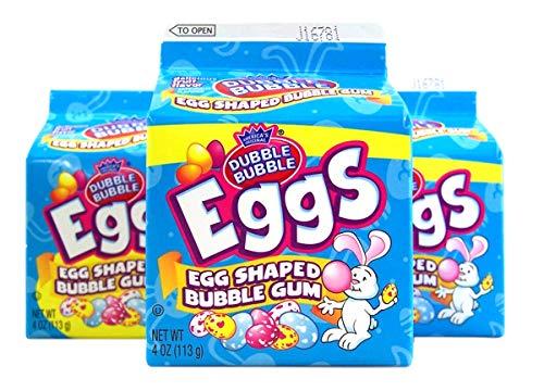 Dubble Bubble Easter Candy Bubble Gum Eggs, 4 oz Carton, Pack of 3
