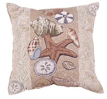 Simply Home Seashell Collection Beachside Decorative Throw Pillow 17 x 17