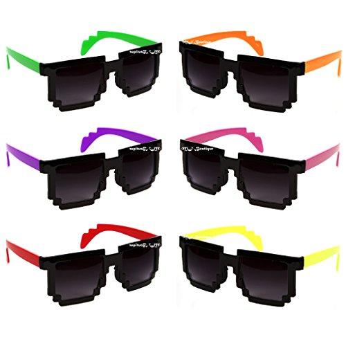 One Dozen Two Tone Minecraft 8 Bit CPU Gamer Pixel Sunglasses By MJ Boutique