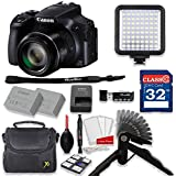 Canon PowerShot SX60 HS 16.1MP 65X Optical Zoom Digital Camera Video Creator Kit + 32GB High Speed Memory Card + Steady Grip + LED Video Light + Extra Battery + Professional Accessory Bundle