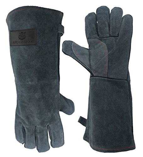 Price comparison product image OZERO Welding Gloves, Good for Barbecue/Welders/Mig/Fireplace/Stove/Pot Holder/Gardening - Cotton Lining with Extra Long Sleeve Heat Resistant Gloves - 16 inch-Gray