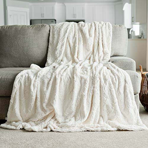 Luxury Throw Blanket - GRACED SOFT LUXURIES Softest Warm Elegant Cozy Faux Fur Home Throw Blanket (Solid Ivory, Extra Large 60