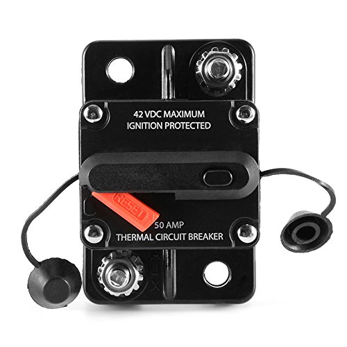 ZOOKOTO 50 Amp Car Automotive Marine Boat Audio Circuit Breaker with Manual Reset, 12V- 42VDC, Waterproof (50A)