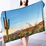 Miki Da 100% Premium Quality Bath Towel Sun Goes Down in Desert Prickly pear Southwest Soft & Absorbent L55.1 x W27.5 INCH