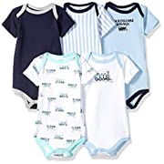 Luvable Friends Baby Infant 5 Pack Bodysuits, Train, 3-6 Months