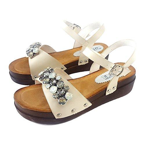 con Beige Comodo Strass Beige shoes GC101 kiara Basso Sandalo Ax4qPRwng7