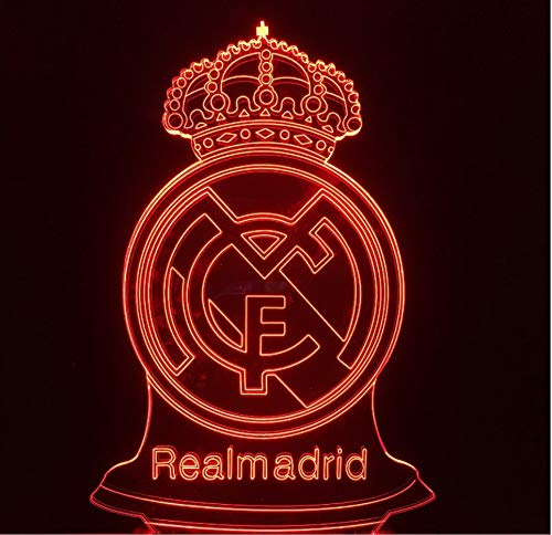 RTYHI Soccer Real Madrid Badge Touch 3D Lamp Visual Stereo Colorful 3D Night Lamp USB Table Lamp Decorative Lighting