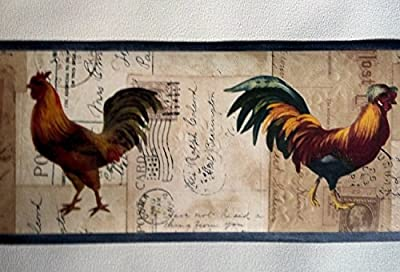 Roosters Wallpaper Border – Country Farming – Blue HRB4042