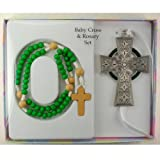 Baby Cross & Rosary Set - Celtic Cross with Green Wooden Rosary (McVan BS34) by KeegansCatholicTreasures