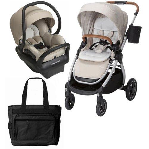 Maxi-Cosi Adorra Stroller Mico Max 30 Infant Car Seat Travel System - Nomad Sand with BONUS Diaper Bag by Maxi-Cosi